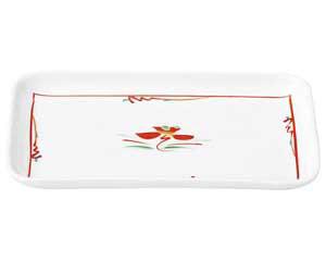 【まとめ買い10個セット品】和食器 ホ478-167 赤絵花紋 7.5長角皿【キャンセル/返品不可】【開業プロ】