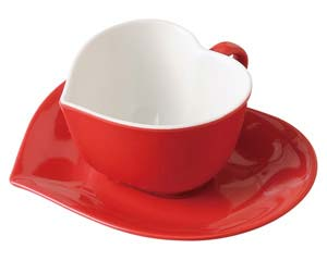 【まとめ買い10個セット品】オ512-057 アシンメトリックハートコーヒー碗(レッド)【キャンセル/返品不可】【開業プロ】
