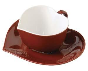 【まとめ買い10個セット品】オ512-077 アシンメトリックハートコーヒー碗(ブラウン) 【キャンセル/返品不可】【開業プロ】