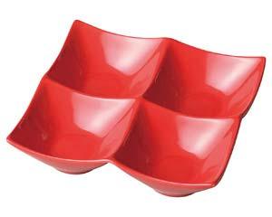 【まとめ買い10個セット品】和食器 ホ529-316 スタイルI赤4P角鉢 【キャンセル/返品不可】【開業プロ】