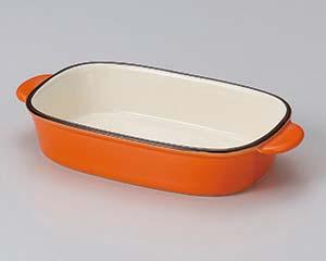 【まとめ買い10個セット品】和食器 イ603-046 オレンジ長方形グラタン 【キャンセル/返品不可】【開業プロ】