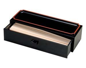 和食器 エ716-306 [A]26cm カスター付箸箱 黒天朱
