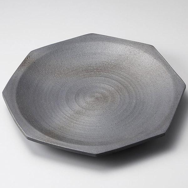 和食器 メ160-067 黒銀彩13.0八角皿 【メイチョー】