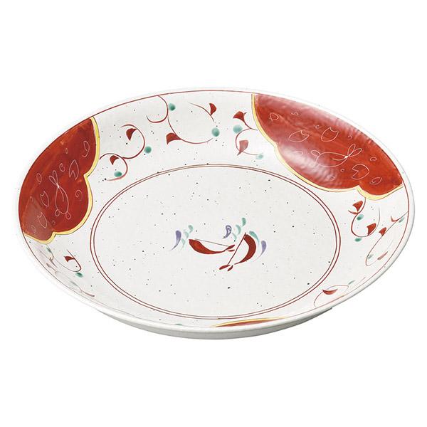 和食器 ミ166-077 うさぎ赤唐草 新型尺二深皿 【メイチョー】