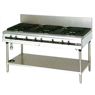 マルゼン パワークックガステーブル MGTX-157E 1500×750×800 メイチョー【 メーカー直送/後払い決済不可 】
