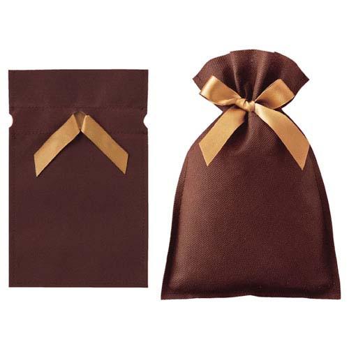 【まとめ買い10個セット品】 不織布リボン付きギフトバッグ ブラウン 20×30(21.5) 10枚【店舗什器 小物 ディスプレー ギフト ラッピング 包装紙 袋 消耗品 店舗備品】