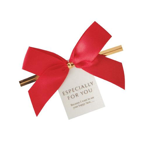 exp-61-273-6-1 リボン付きワイヤータイ マート レッド 10個 ラッピング用品 包装 ギフトラッピング 雑貨 かわいい 贈り物 プレゼント 業務用 リボン 正規品送料無料 消耗品