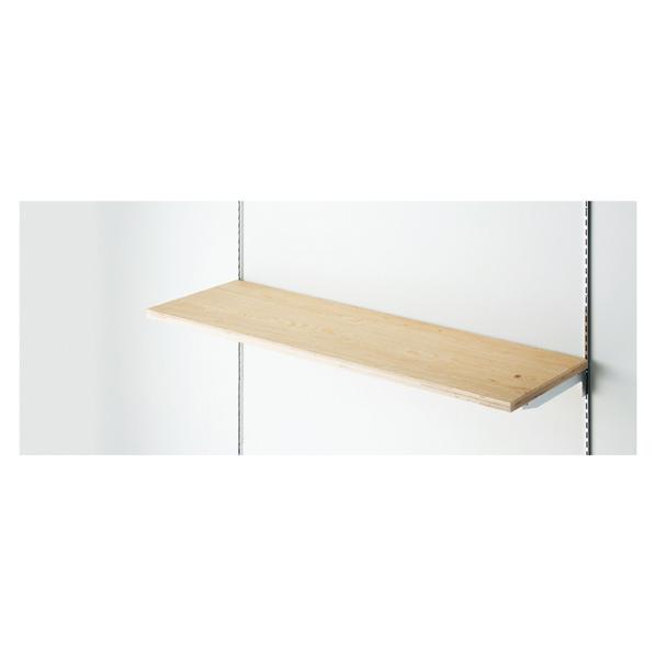 【まとめ買い10個セット品】 木棚セットW120×D40cm ラーチ合板t24mm (ダボ8穴/芯々888・1188/透明ローカン) 【メイチョー】