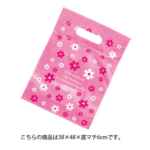 【まとめ買い10個セット品】 ピンク フラワー ポリバッグ 38×48cm 100枚【 ラッピング用品 包装 ラッピング袋 ギフト ピンクフラワー 消耗品 かわいい 業務用 】