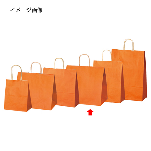 【まとめ買い10個セット品】 カラー手提げ紙袋 オレンジ 34×22×32 50枚【店舗什器 小物 ディスプレー ギフト ラッピング 包装紙 袋 消耗品 店舗備品】