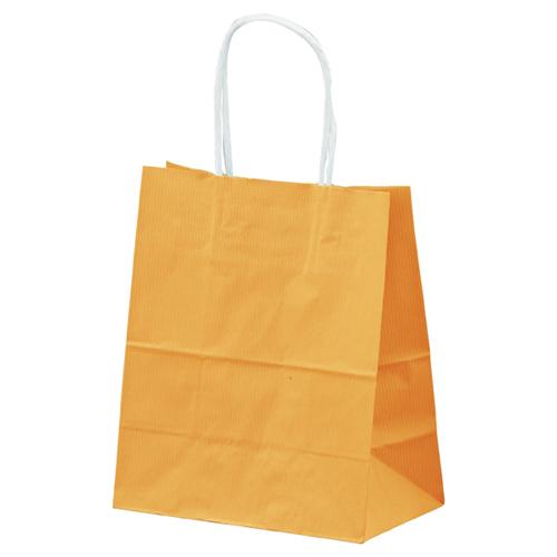 【まとめ買い10個セット品】 筋入りカラー 無地 オレンジ 21×12×25 300枚【店舗什器 小物 ディスプレー ギフト ラッピング 包装紙 袋 消耗品 店舗備品】