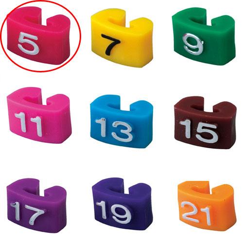 【まとめ買い10個セット品】 サイズチップ 婦人用 5 赤 150個【店舗什器 小物 ディスプレー ハンガーチップ サイズチップ 店舗備品】