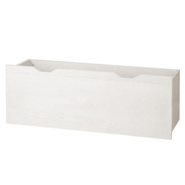 【まとめ買い10個セット品】 木製深型収納トロッコ W116.4×D37×H40.4cm ホワイト 【メイチョー】