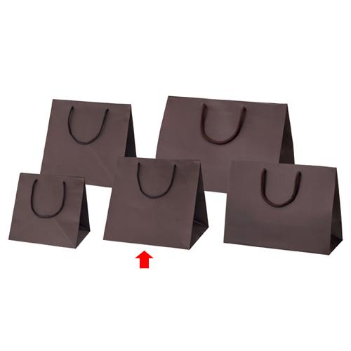 【まとめ買い10個セット品】 マット貼りブライトバッグ ブラウン 30×28×30 50枚【店舗備品 包装紙 ラッピング 袋 ディスプレー店舗】