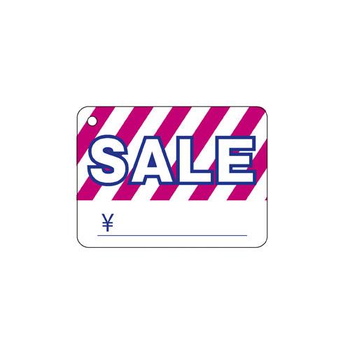 【まとめ買い10個セット品】 さげ札ストライプ(糸付き) ピンク/白 300枚【販促用品 ポスター POP タグ 店舗備品】