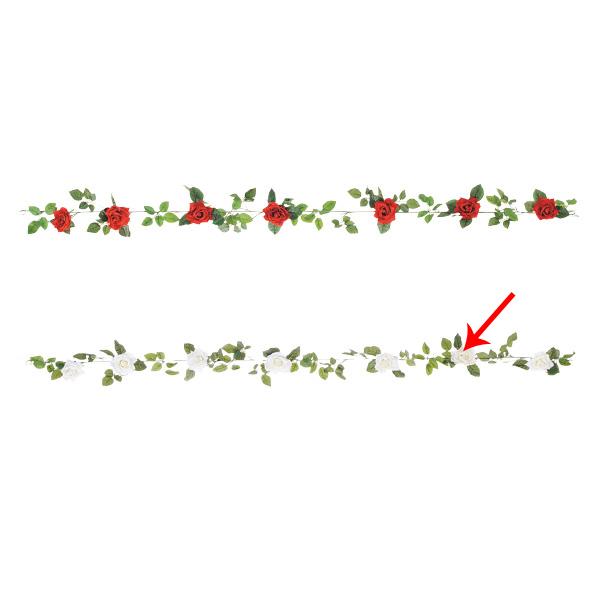 【まとめ買い10個セット品】 オープンローズガーランド ホワイト1本 【バレンタインデー ローズ バラ 薔薇 飾り イベント 装飾】 【メイチョー】