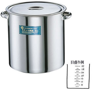 【 業務用 】寸胴鍋 SA18-8 業務用寸胴鍋[目盛付] 48cm