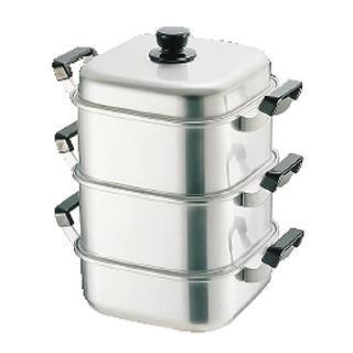 【 業務用 】アルマイト角型蒸器 30cm 二重 【 せいろ セイロ 蒸篭 蒸し器 アルミ 】