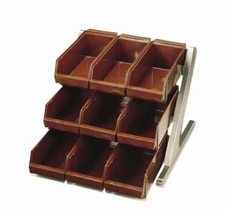 【 業務用 】SA18-8デラックス オーガナイザー 3段3列[9ヶ入] ブラウン 【 ステンレスカトラリーボックス 】