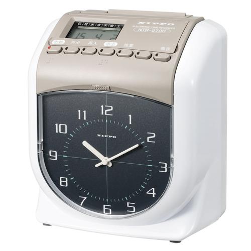 電子タイムレコーダー NTR-2700 スノーホワイト&ウォームグレー 1台 NIPPO【厨房館】