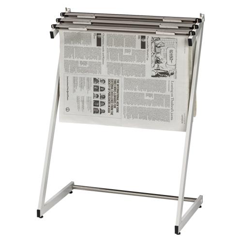 新聞架 スチール製 3本タイプ CR-SN130-W ホワイトグレー 【厨房館】