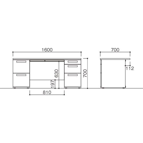 オフィスデスク 両袖机 LDC-R167-LR23(NA) ホワイト/ナチュラル 【厨房館】