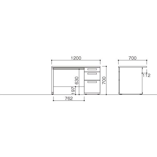オフィスデスク 片袖机 LDC-K127-R3(NA) ホワイト/ナチュラル 【厨房館】