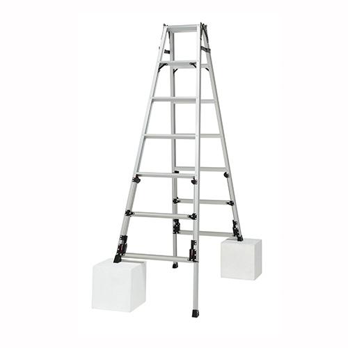 ピカコーポレイション 四脚アジャスタ式はしご兼用脚立 上部操作タイプ SCN-210A 【厨房館】