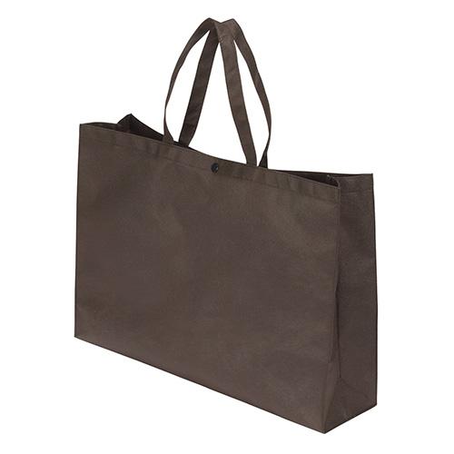 crw-42298 サンナップ 不織布バッグ 一部予約 マチ ボタン付き 送料無料限定セール中 横長タイプ 厨房館 FBB-Y45BR ブラウン