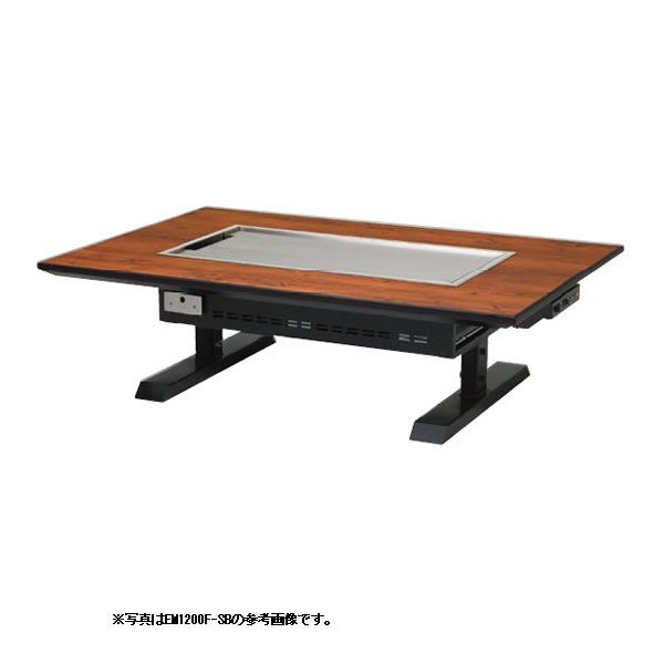 【 業務用 】お好み焼きテーブル 電気 6mm鉄板 4人掛 スチール脚和卓 1550×800×330 【 メーカー直送/後払い決済不可 】