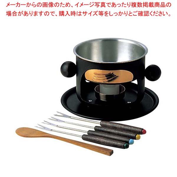 【まとめ買い10個セット品】銅 デザートフォンデュセット 黒(固形燃料用)S-214BL【 卓上鍋・焼物用品 】 【厨房館】