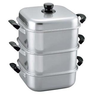 アルマイト 角型蒸器 二重 33cm【 すし・蒸し器・セイロ類 】 【厨房館】