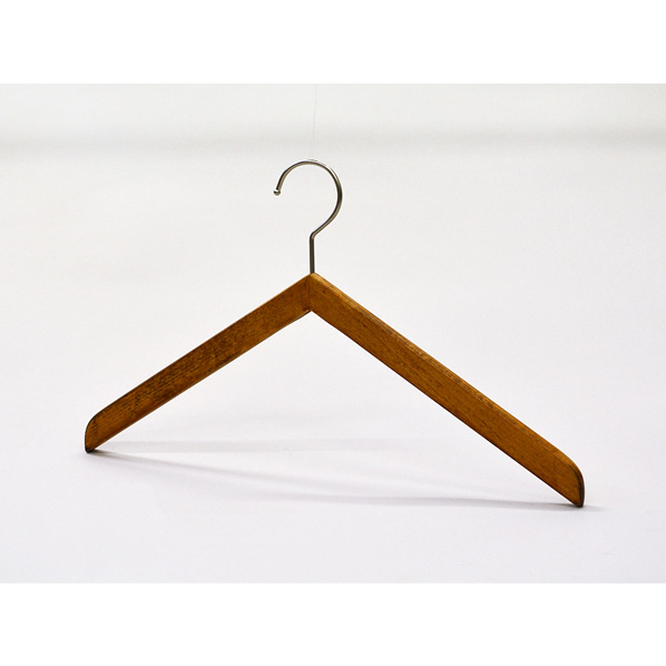 木製ハンガブーメランスタイルソークBR38cm50本 肩厚1.3cm 【厨房館】