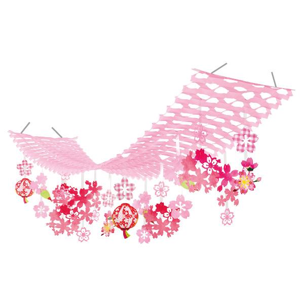 【まとめ買い10個セット品】 桜満開ぼんぼりプリーツハンガー1枚 【桜 サクラ さくら 春 飾り イベント 装飾】 【厨房館】