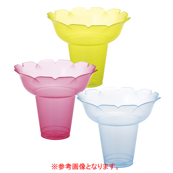 【まとめ買い10個セット品】 カキ氷カップ フラワー 小 クリア 25個 【厨房館】