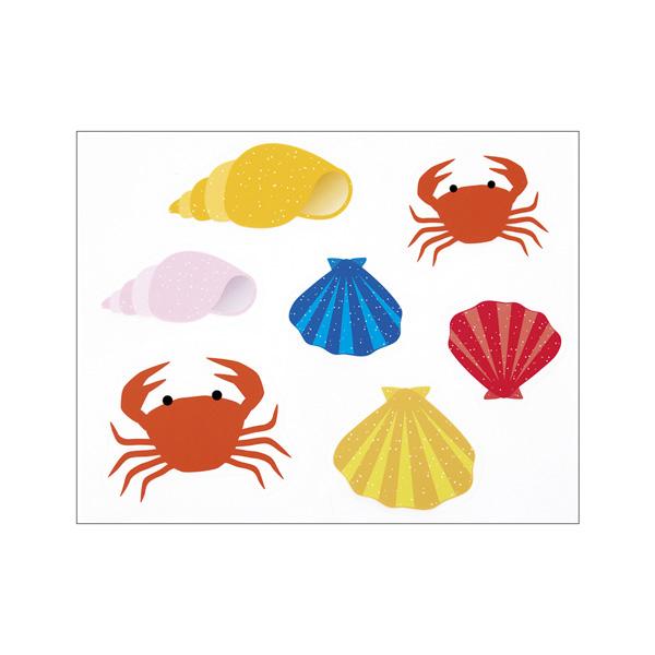 【まとめ買い10個セット品】 ウインドウシール カニと貝殻1セット 【厨房館】