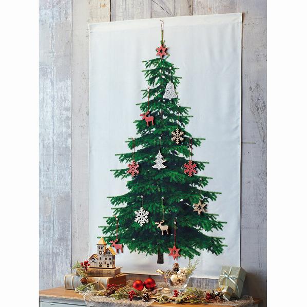 もみの木タペストリー オーナメント付き ナチュラル1セット【クリスマス クリスマスツリー オーナメント 店舗装飾 飾り ディスプレイ christmas xmas】【厨房館】