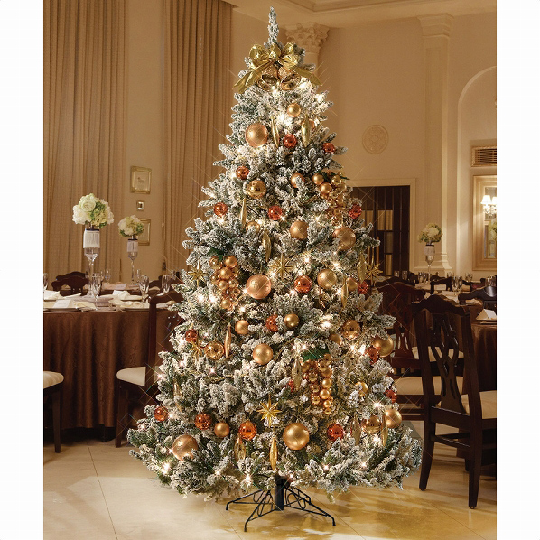 フロストツリーセットゴールドH240×W155cm1セット【クリスマス クリスマスツリー ツリー 店舗装飾 飾り ディスプレイ christmas xmas】【厨房館】