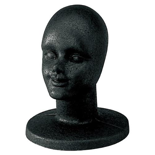 【まとめ買い10個セット品】 マネキンヘッド 顔付き 黒【厨房館】