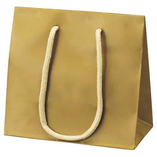 【まとめ買い10個セット品】 手提げ紙袋 ゴールド 16.5×9×16 10枚【店舗備品 包装紙 ラッピング 袋 ディスプレー店舗】【厨房館】