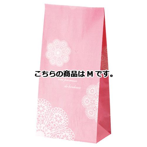 【まとめ買い10個セット品】 レースィ 角底紙袋 M ピンク 100枚【店舗備品 包装紙 ラッピング 袋 ディスプレー店舗】【厨房館】