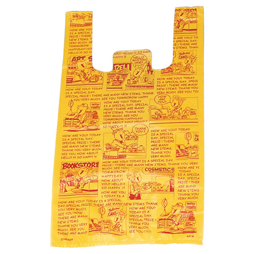 アメリカンコミック レジ袋 30×55(39)×横マチ15 2000枚【店舗備品 包装紙 ラッピング 袋 ディスプレー店舗】【厨房館】
