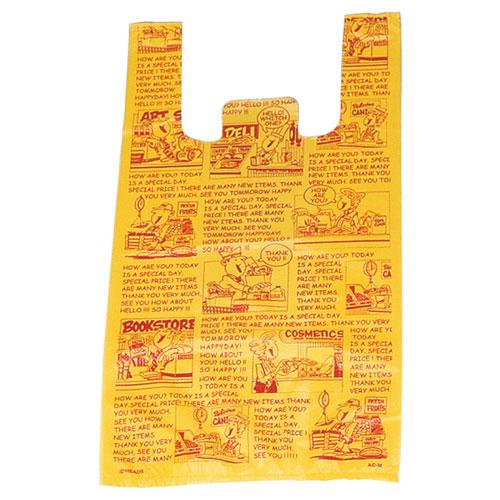 アメリカンコミック レジ袋 18×35(23)×横マチ10 6000枚【店舗備品 包装紙 ラッピング 袋 ディスプレー店舗】【厨房館】