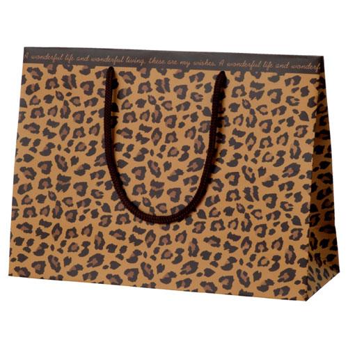 レオパード 手提げ紙袋 32×11×23.5 100枚【店舗備品 包装紙 ラッピング 袋 ディスプレー店舗】【厨房館】