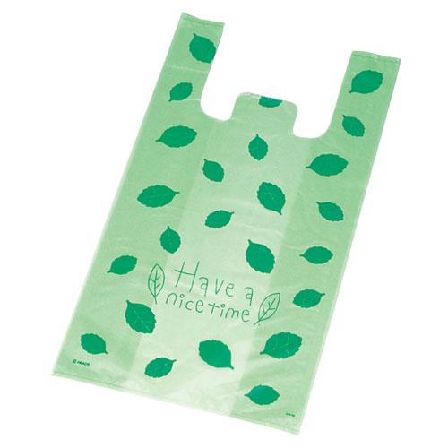 レジ袋 リーフグリーン 15×27(18)×横マチ8 10000枚【店舗備品 包装紙 ラッピング 袋 ディスプレー店舗】【厨房館】
