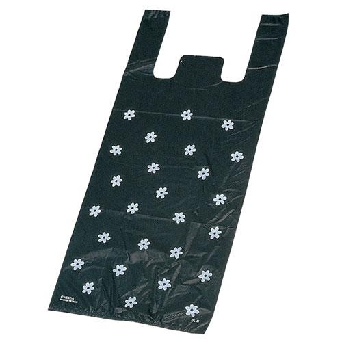 レジ袋 ブラックフラワー 18×35(23)×横マチ10 6000枚【店舗備品 包装紙 ラッピング 袋 ディスプレー店舗】【厨房館】