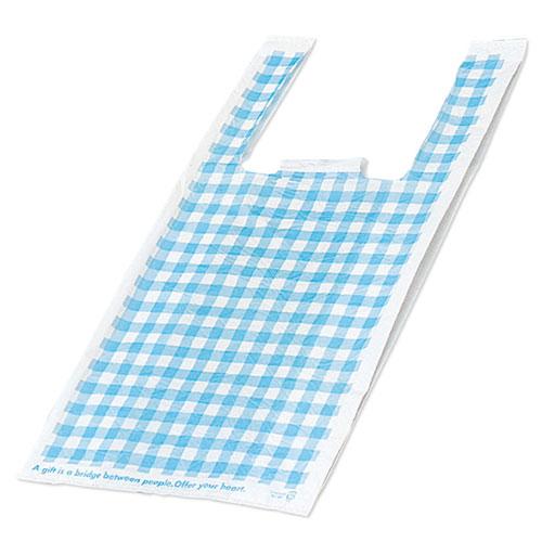 ブルーチェック 25×49(35)×横マチ15 3000枚【店舗備品 包装紙 ラッピング 袋 ディスプレー店舗】【厨房館】