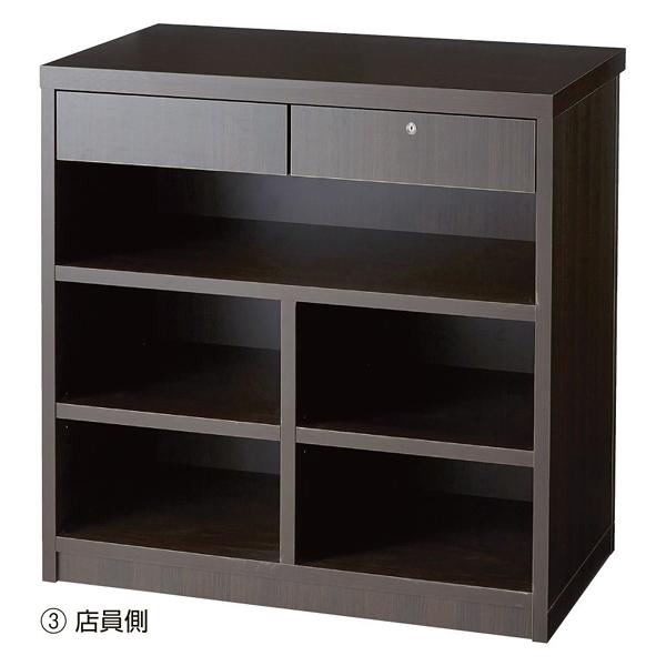 木製カウンター W90×H90cm ダークブラウン 新仕様 【厨房館】