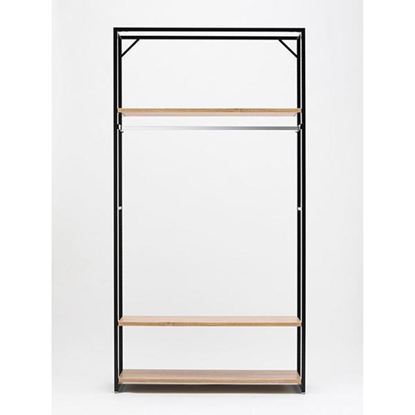 LR4壁面ブラックW120ラスティック木棚3段角バーセット 【厨房館】