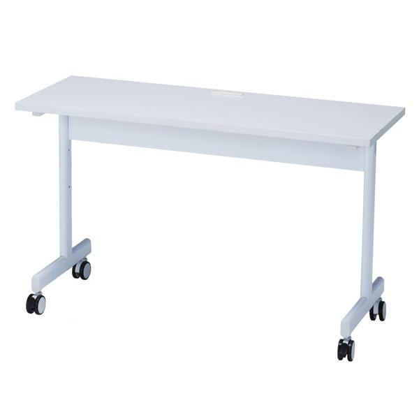 コンセント付きテーブルW150cmホワイト 【厨房館】